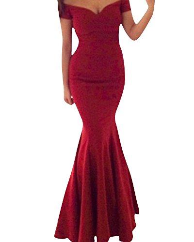 SaiDeng Longue Formelle Robe De Soirée Rouge Longue Robe De Soirée Sans Bretelles Robe De Bal Rouge