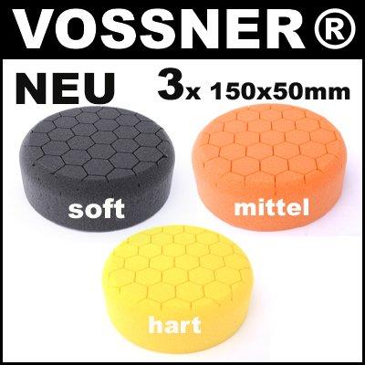 3x Polierschwamm (soft, mittel, hart) Hexagon (150x50mm) TOP-Qualität mit neuester Lasertechnologie
