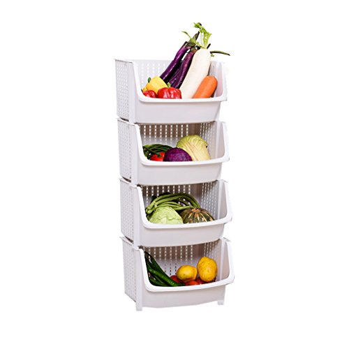 WSGZH Mehrzweck-Kunststoff weiß Lagerregal stehend 4-Tier stapelbar Korb Collation Frame Boden Typ Küche abnehmbare Gemüse Regale Bad Einheit