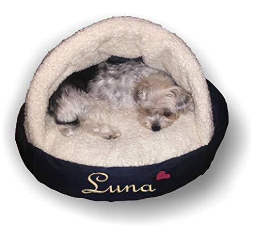 LunaChild Hunde Handmade Kuschelhöhle Lounge Hundebett Name Snuggle Bag Größe S M L oder XL viele Farben Unikat persönliches Geschenk bestickt personalisiert -