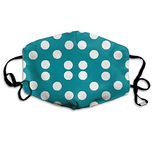 asken, Pretty Polka Dots in Teal Face Masks Breathable Dust Filter Masks Mouth Cover Masks with Elastic Ear Loop ()