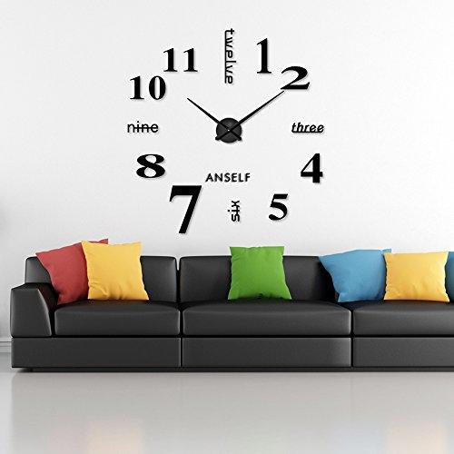 Anself modern wall diy orologio grande guarda decor adesivi effetto specchio acrilico decalcomania domestica di vetro rimovibile decoration