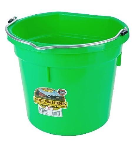 Miller Manufacturing P20FBLIMEGREEN Plastic Flat Back Bucket for Horses, 20-Quart by Miller Manufacturing