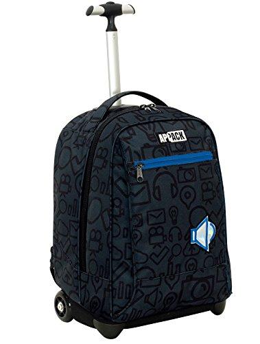 Big trolley appack , micro macro , blu , 35 lt , 2in1 zaino  con spallacci a scomparsa , scuola & viaggio