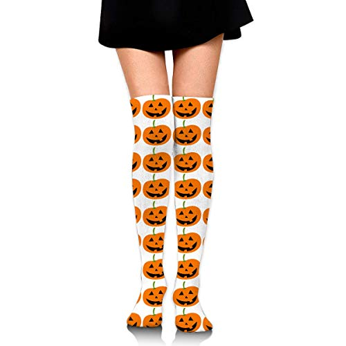 HRTSHRTE Cute Halloween Grinning Pumpkin Lantern Party Ankle Stockings Over The Knee Sexy Womens Sports Athletic Soccer Socks