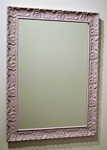 Spiegel Wandspiegel mit Rahmen Klassische Holz lackiert pink klar, rechteckig cm. 56x 76. Beste für Schlafzimmer Mädchen. Made in Italy....