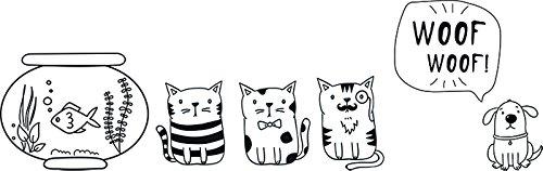 Securit Pets Thema Fenster Schablonen inkl. Kreide Marker, Weiß, A3Größe, Set von 3