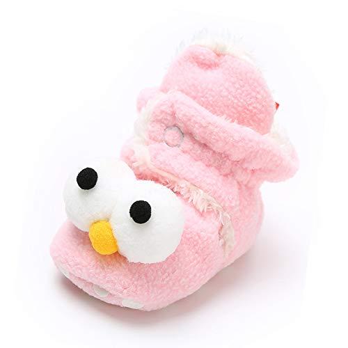 Sabe Babyschuhe für Jungen und Mädchen, warm, Fleece, weiche Sohle, Unisex, mit Riemen, Rutschfest, für den Winter, Geschenk zum ersten Geburtstag, C-pink - Größe: 0-6 ()