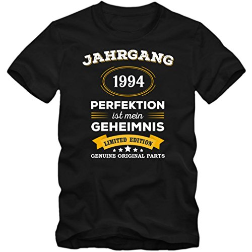 Jahrgang 1994 T-Shirt | Geburtstags-Shirt | Perfektion ist mein Geheimnis | 23. Geburtstag | Herren | Shirt © Shirt Happenz Schwarz (Deep Black L190)
