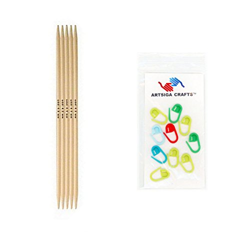 Addi Bundle: Strumpfstricknadel-Natura Bambus-(20cm) Stricknadeln (5Stück) + 10artsiga Crafts Maschenmarkierer, Bambus, Size-US-02-(3.00mm) -