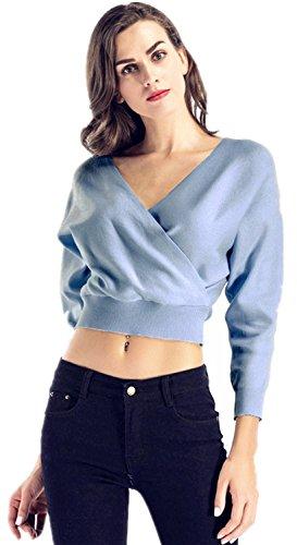 A maniche lunghe scollo profondo a v incrocio a portafoglio avvolgente davanti corti corto crop pullover sweater maglione maglia jumper superiore top blu m