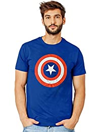 Smartees Blue Color Cotton Half Sleeves Printed Captain America Tshirts For Men