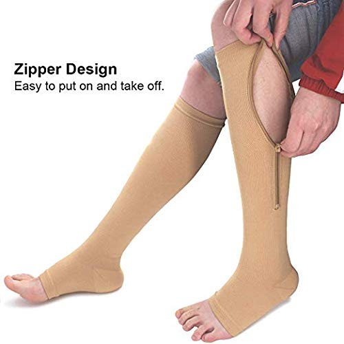 SKUDGEAR Zipper Compression Socks Stockings with Open Toe Calf Support Best Support Zipper Stocking for Edema, Swollen, Nurses, Pregnancy, Recovery (Skin Color, L/XL)