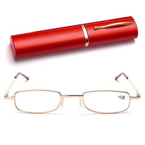 Vococal lesebrille-Metall Gestell Pocket Lesebrillen / Reading glasses Presbyopie Brillen mit Pen Form Lagerung Etui ( Zufälliger Farbe ) , +3.00D