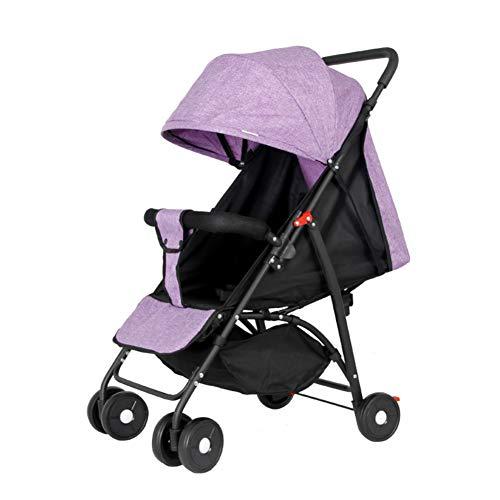 Twin Trittbrett (Kinderwagen Falten Tragbare Ultraleichte Multifunktions-Regenschirm Auto Liegend Kind Baby Vierrädrigen Wagen Lila Sitzen)