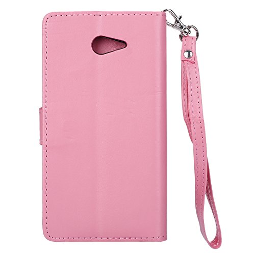 Custodia Sony Xperia M2 - Cover Sony Xperia M2 - ISAKEN Accessories Cover in PU Pelle Bronzing Oro farfalla Leather Custodia Rigida Libro Bookstyle Wallet Flip Portafoglio Copertura Anti Slip Protezio bronzante Rosa
