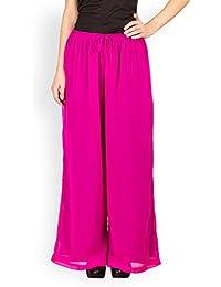 Ayaany Women's Georgette Pink Palazoo | Straight |Plazzo bottom | Salwar | Trouser Pants For Girls & Women