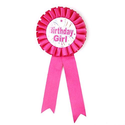 perfeclan Rosette Abzeichen Geburtstag Anstecker Badge mit Sicherheitsnadel für Baby Geschlecht Party und Babydusche - Birthday Girl, 19cm
