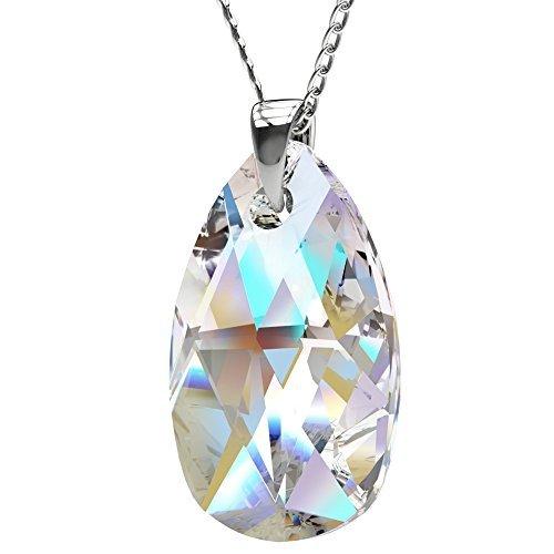 Royal Crystals - Collana da donna in argento Sterling con pendente a goccia realizzato in cristalli Swarovski della gamma