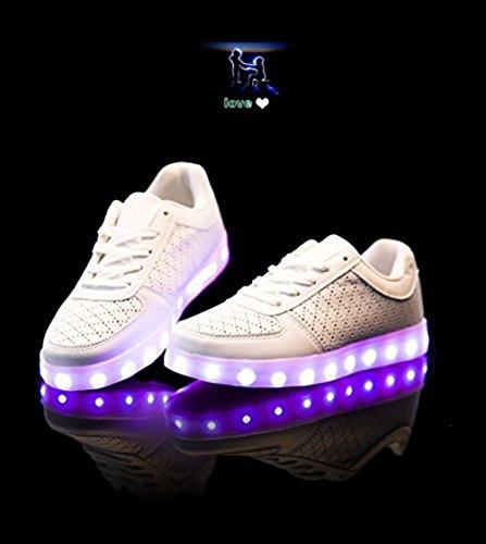 [Présents:petite serviette]JUNGLEST® 7 Couleur Mode Unisexe Homme Femme USB Charge LED Lumière Lumineux Clignotants Chaussures de ma c15