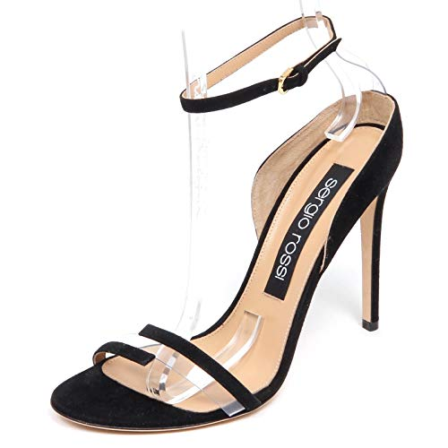 SERGIO ROSSI F6038 Sandalo Donna Black/Transparent Suede/Plastic Shoe Woman [39]