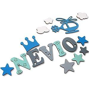 Holzbuchstaben, Dekobuchstaben, Kinderzimmer-Tür in tollen Farbkombinationen I Inkl. 2 Sternen sowie Klebepads I Perfektes Geburtsgeschenk oder Taufgeschenk I Größe 7cm