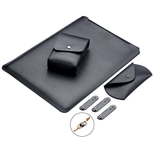 Preisvergleich Produktbild MacBook Air 13 Zoll Laptop Hülle, ZXK CO Luxus Mikrofaser Leder Laptop Tasche Wasserresistente Laptop Hülsen Beutel Abdeckung für MacBook Air &Macbook Pro 13.3 Zoll Ultra Dünn Case Cover mit Mauspad und Netzteil-Schwarz