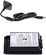 MagiDeal USB Charging Cable Replacement Charger+Batteryback Cover For Xbox 360