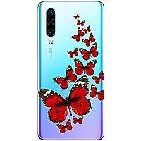Oihxse Funda Conpatible con OnePlus 7T Silicona Transparente Dibujos Mariposa Cover Suave TPU Gel Cristal Clear Delgada Anti- Arañazos Protección Carcasa Case,Rojo