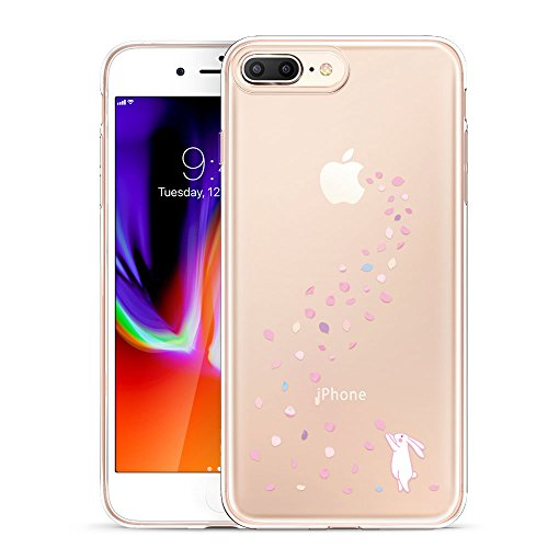 ESR iPhone 8 Plus Hülle, iPhone 7 Plus Hülle, Transparent [Weich Silikon][Ultra Dünn] mit Tiere Motiv Schutzhülle für Apple iPhone 8/7 Plus 5.5 Zoll 2017 Freigegeben. (Hase) (Volle Ersatz-stoßstangen)