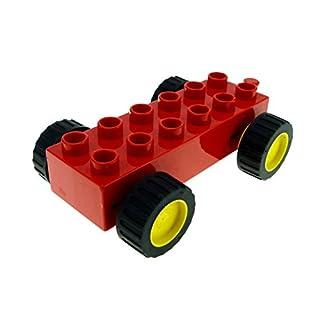 1 x Lego Duplo Fahrzeug Auto Anhänger rot gelb 2x6 Noppen PKW Räder mit Rückzieh Motor Funktion duppull