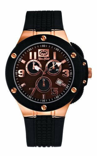Marc Ecko E14531G1 Solid Stainless Steel Rose Gold Plated Case Gents Chronograph Black Rubber Strap Watch