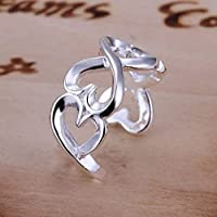 Sterling Silver Plate Hearts Adjustable Thumb Ring