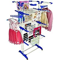 Cipla Plast Cloth Dryer Stand Drying Rack with Wheel for Home and Balcony - King Jumbo (Blue)