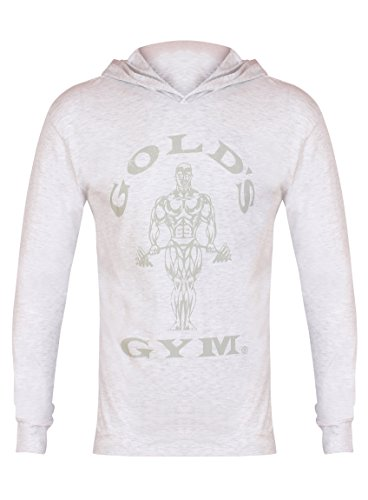 Golds Gym Herren Longsleeve Kapuzenpulli weiß, L (World Gym T-shirt)