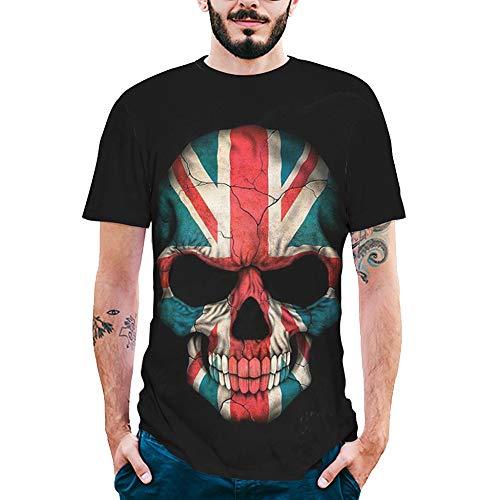Herren T-Shirt 6D Schädel Printing Tee Casual Persönlichkeit Kurzarmhemd Kurz Ärmel Rundhalsausschnitt Shirts Kurzarmshirt Oberteile ()