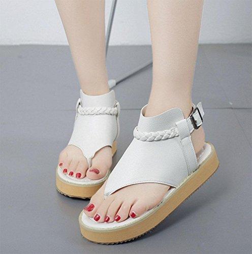 word donne Thong-style fibbia scarpe basse scarpe bianche con scarpe basse di svago selvaggio White
