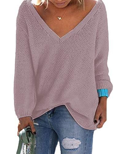YOINS Strickpullover Damen Pullover Winter V Ausschnitt Sexy Oberteil Damen Oberteile Elegant Dunkelrosa EU44