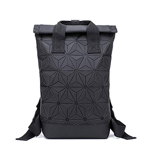 Geometrische Lingge Rucksack Erweiterbar Große Kapazität Leuchtende Reflektierende Reise Daypack Fashion School Rucksack-black -