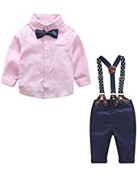 1f9b4877f8a5 Baby Boy Clothes Outfits Sets Autumn Newborn Infant Clothing Gentleman Suit  Suspender Trousers+Top+