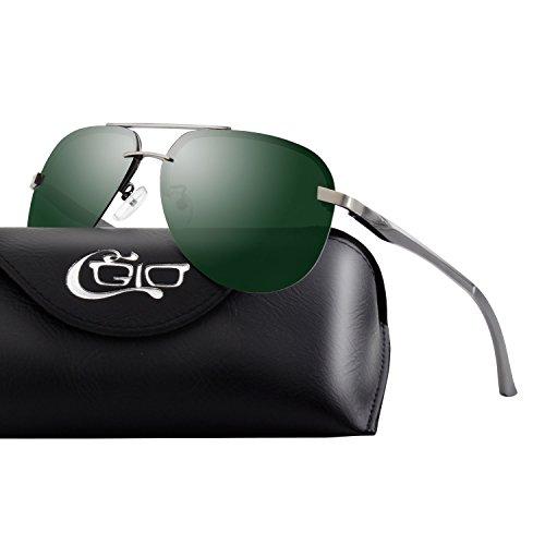 CGID Mode Flieger Metallrahmen Verspiegelt Linse Piloten Pilot Polarisierte Sonnenbrille Pilotenbrille Für Damen UV400 Schutz CG809, B5 Gun Green,