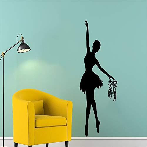 wlwhaoo Ballett Wandtattoo Ballerina Gymnastik Tanzstudio Vinyl Aufkleber Dekor weiß 49cm x 114cm -