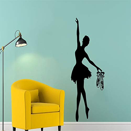 yiyiyaya Ballett Wandtattoo Ballerina Gymnastik Tanzstudio Vinyl Aufkleber Dekor grau 36cm x 83cm (Hamster-ordner)