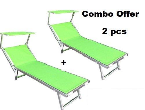 2x lettino mare prendisole struttura in alluminio reclinabile sdraio mare spiaggia lido piscina giardino con tettuccio parasole in texilene