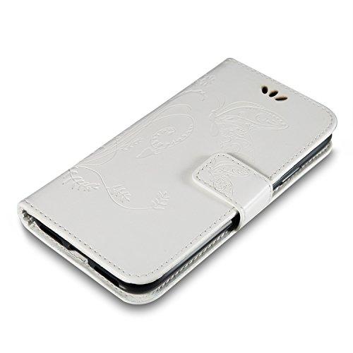 Custodia Per iPhone X, Slynmax Custodia Portafoglio [Cinturino da polso] [Chiusura Magnetica] [Funzione Stand] Modelli A Farfalla in Pelle Stampata in Pelle Con Custodia Di Protezione Completa Con Slo Bianco