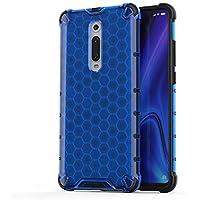 FAWUMAN Funda para Xiaomi Redmi k20 Soft TPU + Duro PC Doble Parachoques Cubierta,Carcasa con Forma de Panal,Antideslizante,Funda Anticaída (Azul)