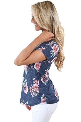 Lukis Damen Sommer Kurzarm T-Shirts Blumendruck Blau