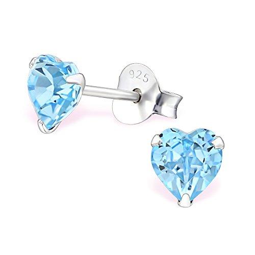 925 Silber Herz Ohrringe mit funkelden Swarovski Kristallen von Monkimau, Kinder-Schmuck, Sterling Silber, Damen, Frauen, Mädchen-Ohrstecker (aquamarine hell-blau)