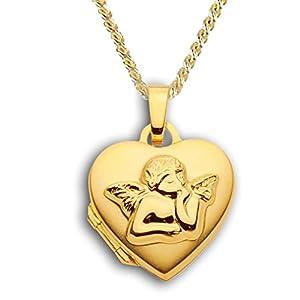 Herz Medaillon verziert hochglanz 333 Gold Muttertag Valentinstag Verlobung Liebe Schmuck Amulett Engel-Verzierung. Von Haus der Herzen®