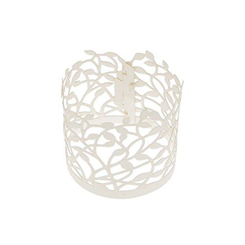 Lot 20pcs Papier Etuis Porte-lumière à Bougie LED Motif Feuilles Découpé Décoration Fête Mariage - Ivoire